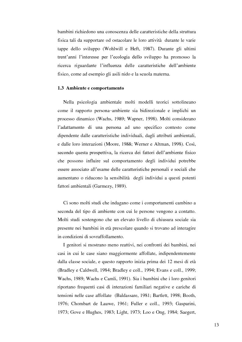 Anteprima della tesi: Il ruolo dell'ambiente fisico nel comportamento del bambino al nido, Pagina 6