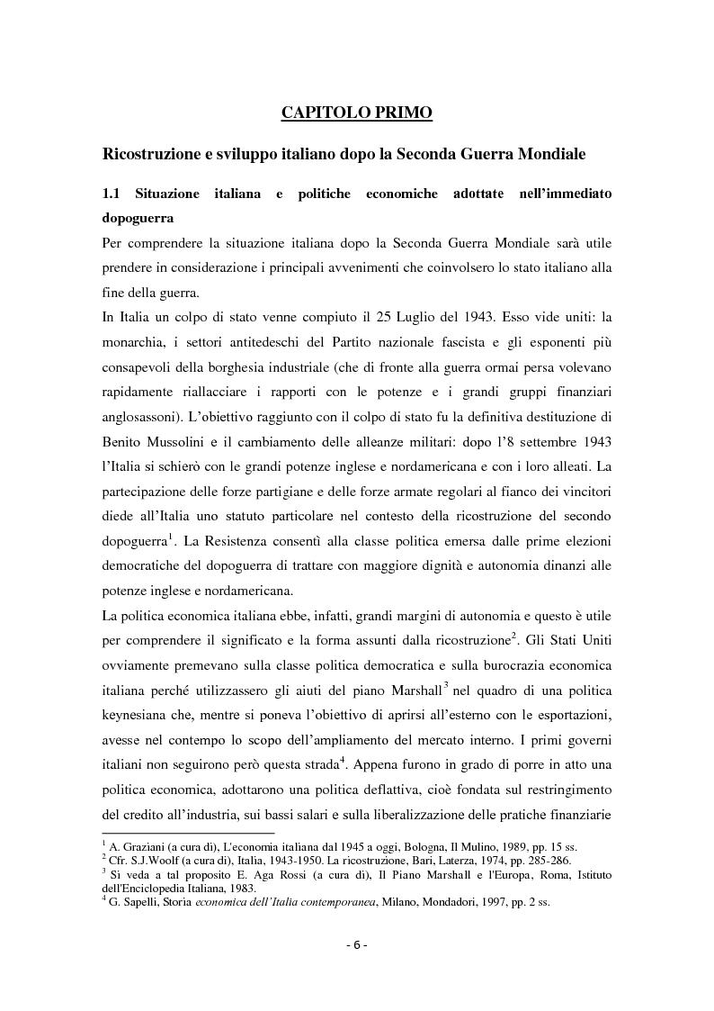 Anteprima della tesi: Diseguaglianze sociali e sviluppo economico dalla fine della Seconda Guerra Mondiale agli anni '90 in Italia, Pagina 3