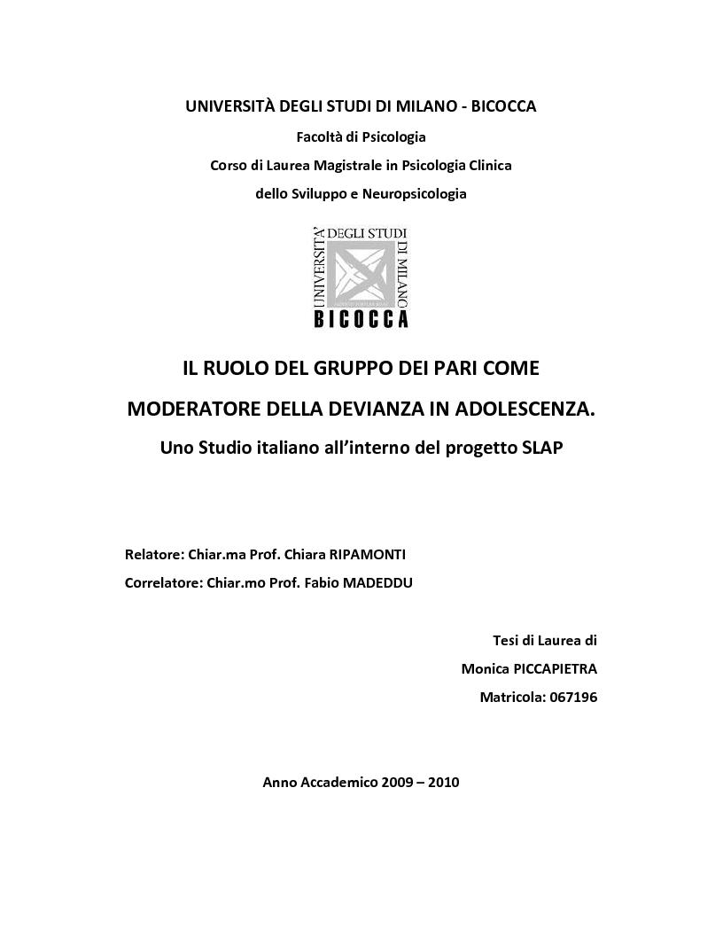 Anteprima della tesi: Il ruolo del gruppo dei pari come moderatore della devianza in adolescenza. Uno studio italiano all'interno del progetto SLAP, Pagina 1