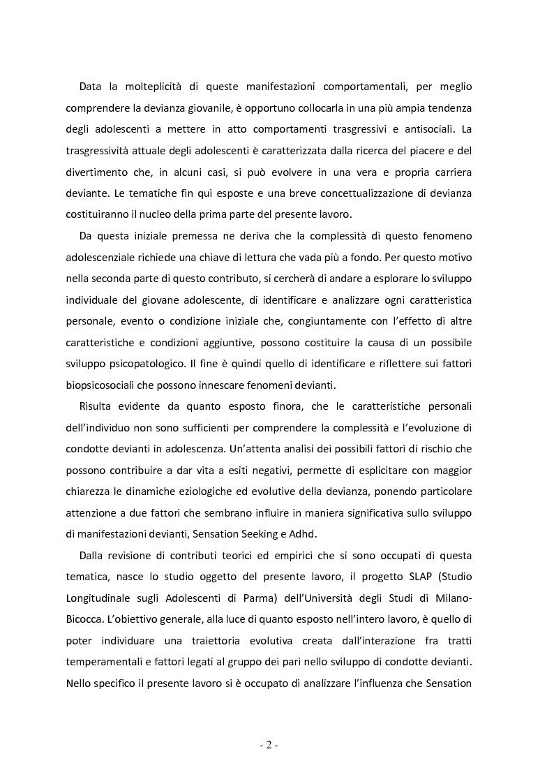 Anteprima della tesi: Il ruolo del gruppo dei pari come moderatore della devianza in adolescenza. Uno studio italiano all'interno del progetto SLAP, Pagina 3