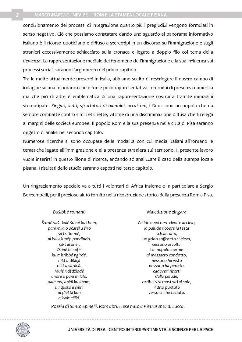Anteprima della tesi: Nevipe: i Rom e la stampa locale pisana, Pagina 3