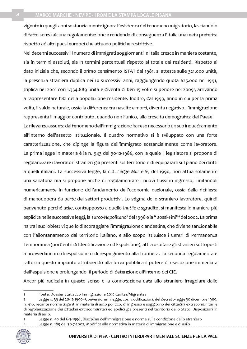 Anteprima della tesi: Nevipe: i Rom e la stampa locale pisana, Pagina 5