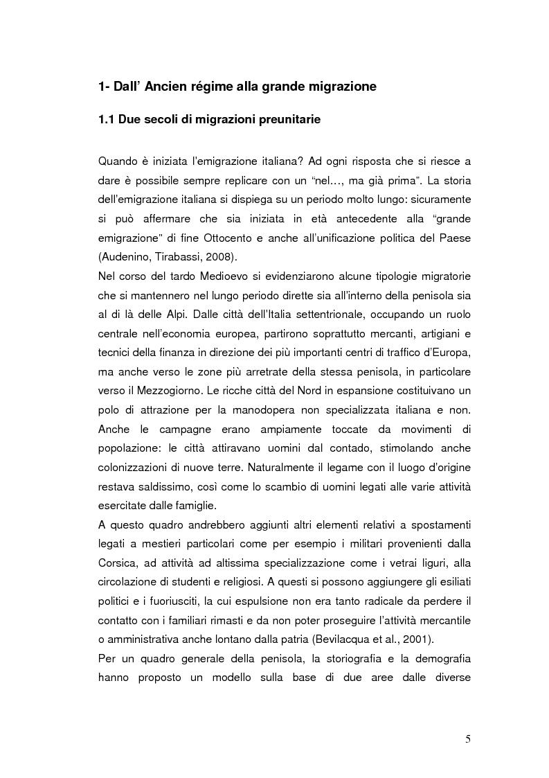 Anteprima della tesi: Passato e presente dell'emigrazione italiana, Pagina 4