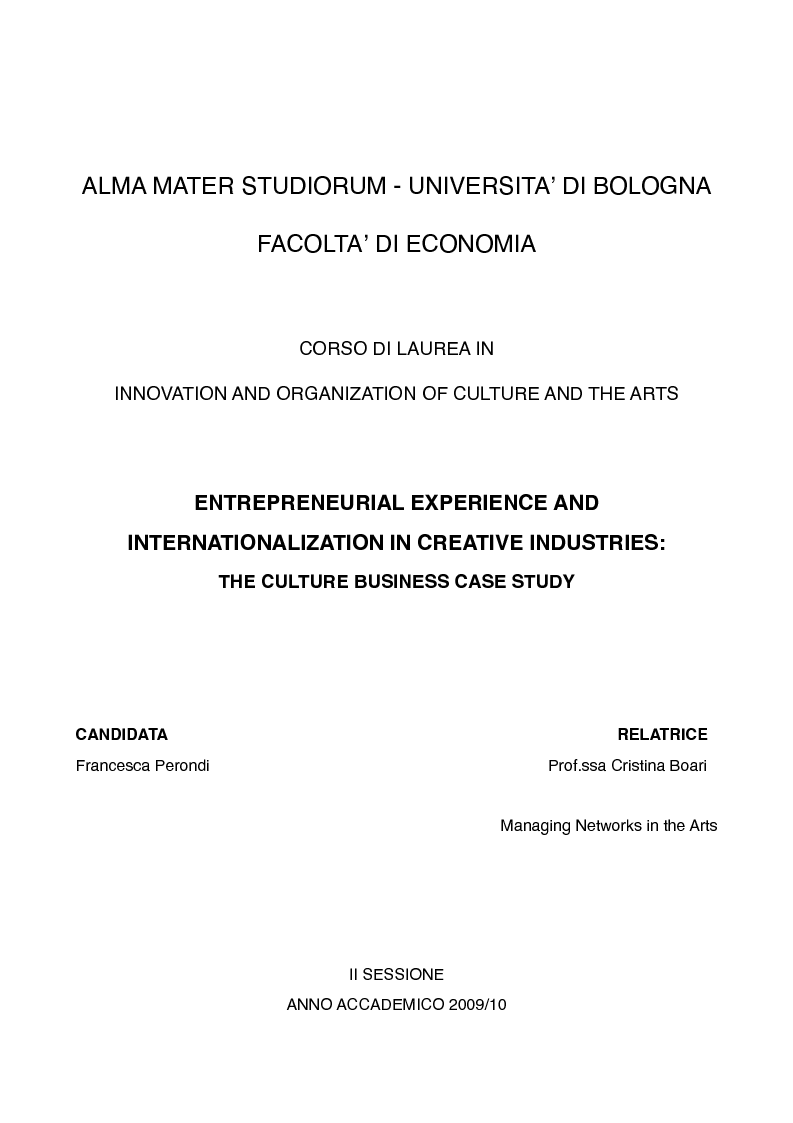 Anteprima della tesi: Entrepreneurial Experience and Internationalization in Creative Industries: The Culture Business Case Study, Pagina 1