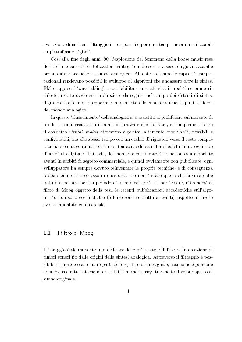 Anteprima della tesi: Realizzazioni digitali del filtro di Moog. Comparazioni e valutazioni architetturali., Pagina 3