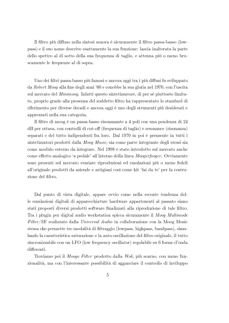 Anteprima della tesi: Realizzazioni digitali del filtro di Moog. Comparazioni e valutazioni architetturali., Pagina 4