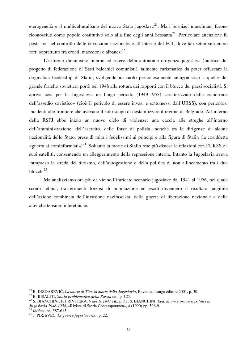 Anteprima della tesi: La Jugoslavia dal 1941 al 2000: tra esodi, scontri etnici e movimenti di popolazione, Pagina 6