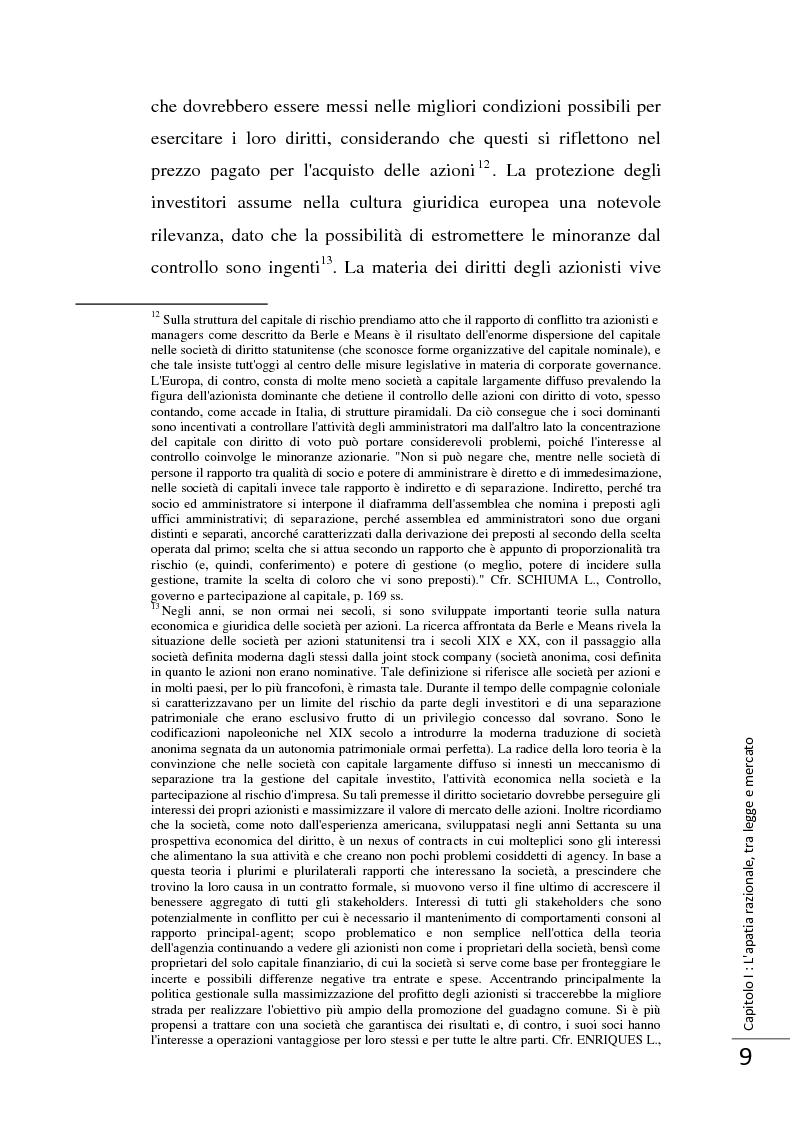 Anteprima della tesi: La Direttiva 2007/36/CE: un provvedimento contro l'apatia razionale dei mercati europei. Attuazione in Italia e in Francia., Pagina 10