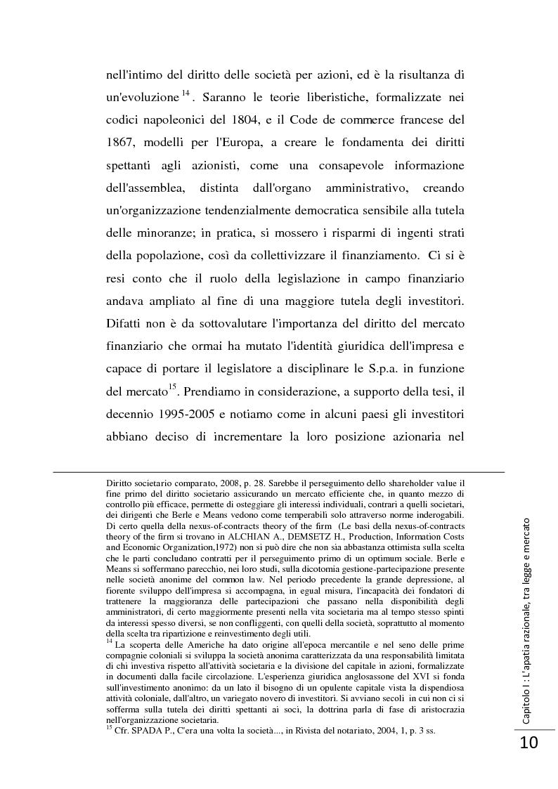 Anteprima della tesi: La Direttiva 2007/36/CE: un provvedimento contro l'apatia razionale dei mercati europei. Attuazione in Italia e in Francia., Pagina 11