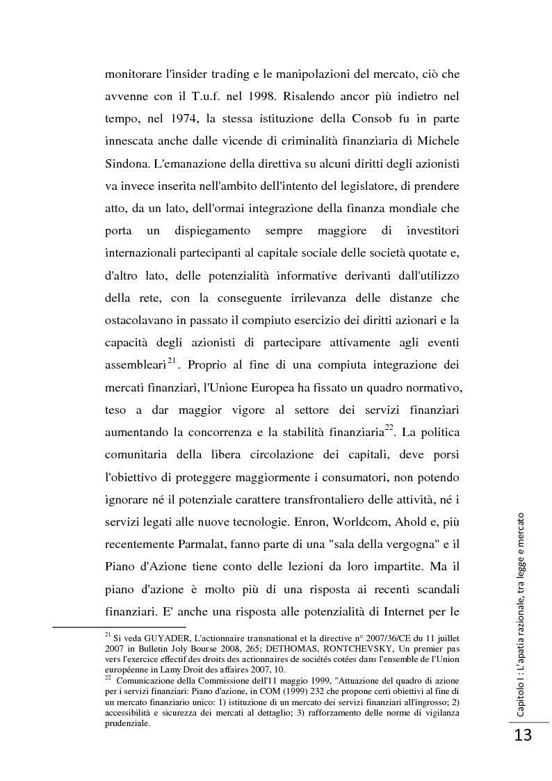 Anteprima della tesi: La Direttiva 2007/36/CE: un provvedimento contro l'apatia razionale dei mercati europei. Attuazione in Italia e in Francia., Pagina 14