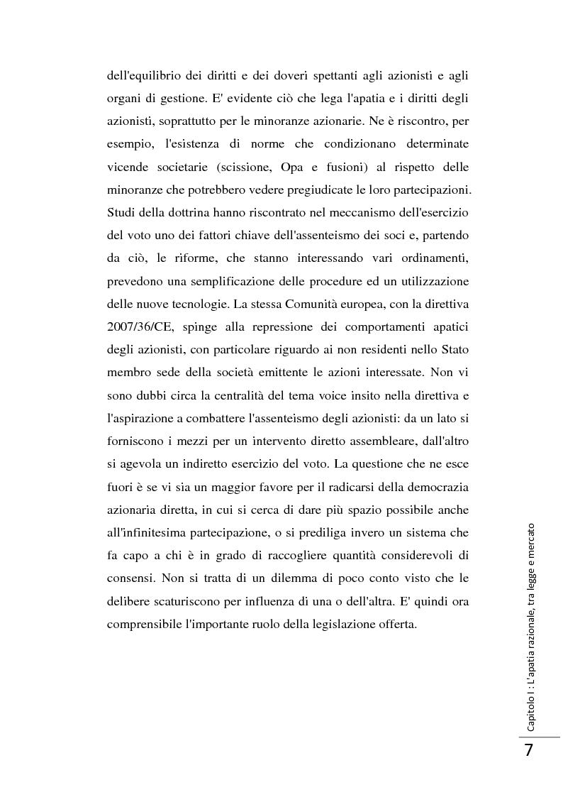 Anteprima della tesi: La Direttiva 2007/36/CE: un provvedimento contro l'apatia razionale dei mercati europei. Attuazione in Italia e in Francia., Pagina 8