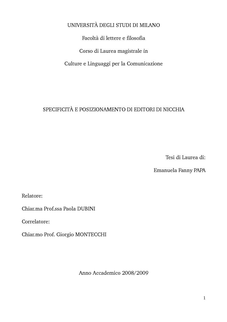 Anteprima della tesi: Specificità e posizionamento di editori di nicchia, Pagina 1