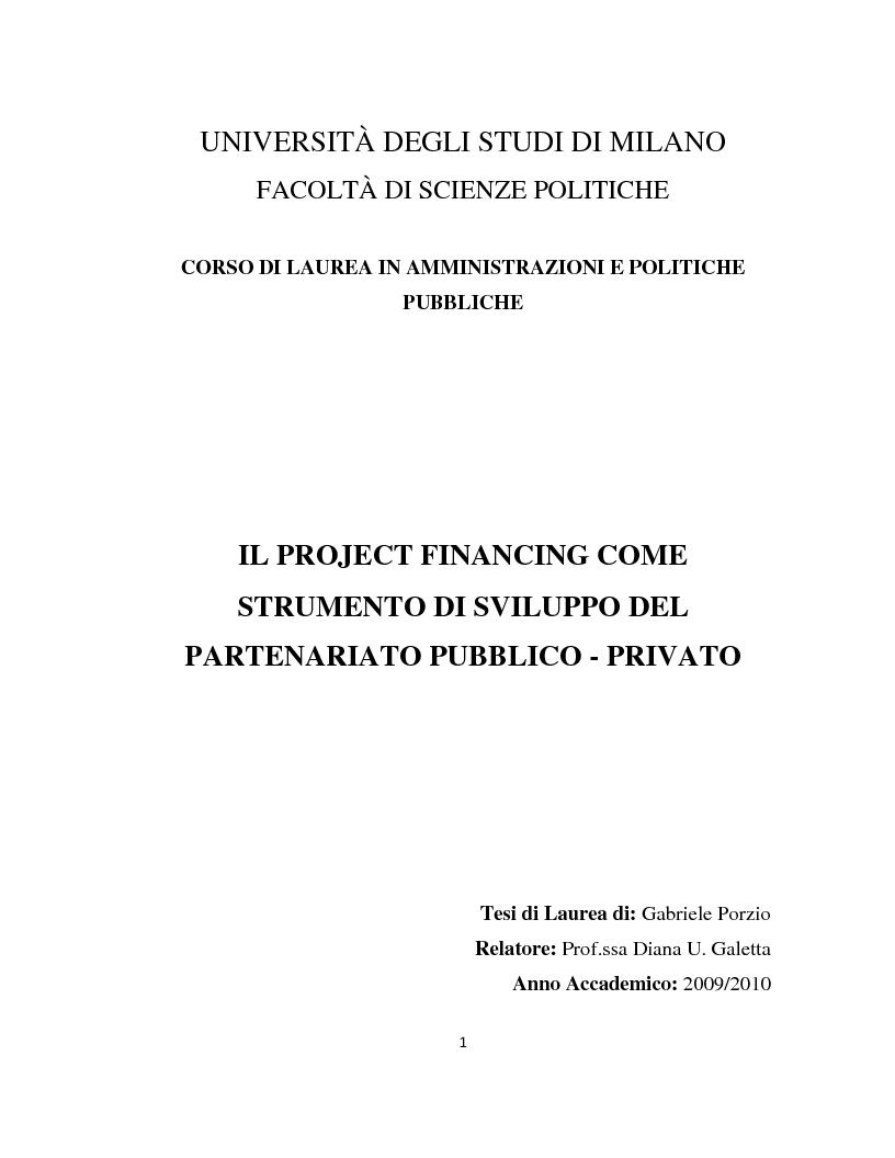 Anteprima della tesi: Il project financing come strumento di sviluppo del partenariato pubblico privato, Pagina 1