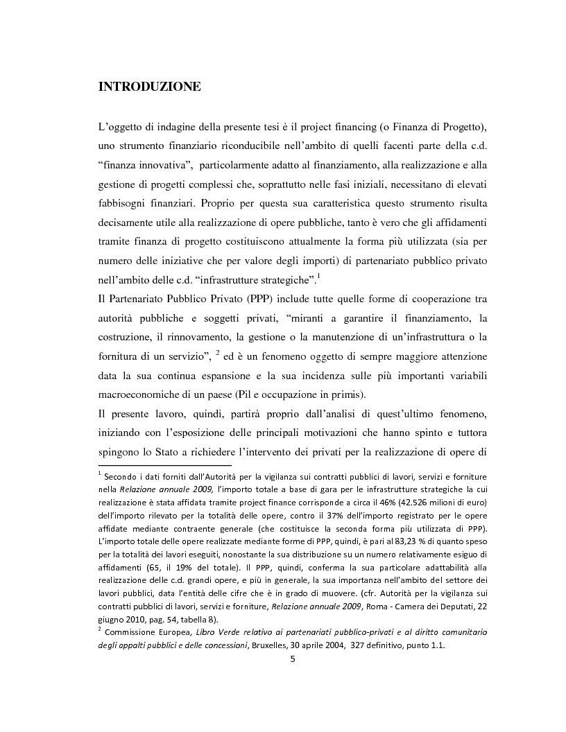 Anteprima della tesi: Il project financing come strumento di sviluppo del partenariato pubblico privato, Pagina 2