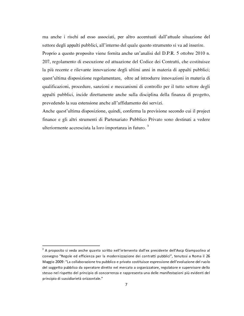 Anteprima della tesi: Il project financing come strumento di sviluppo del partenariato pubblico privato, Pagina 4