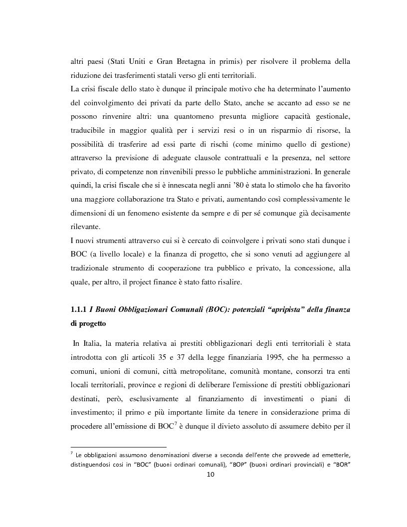 Anteprima della tesi: Il project financing come strumento di sviluppo del partenariato pubblico privato, Pagina 7
