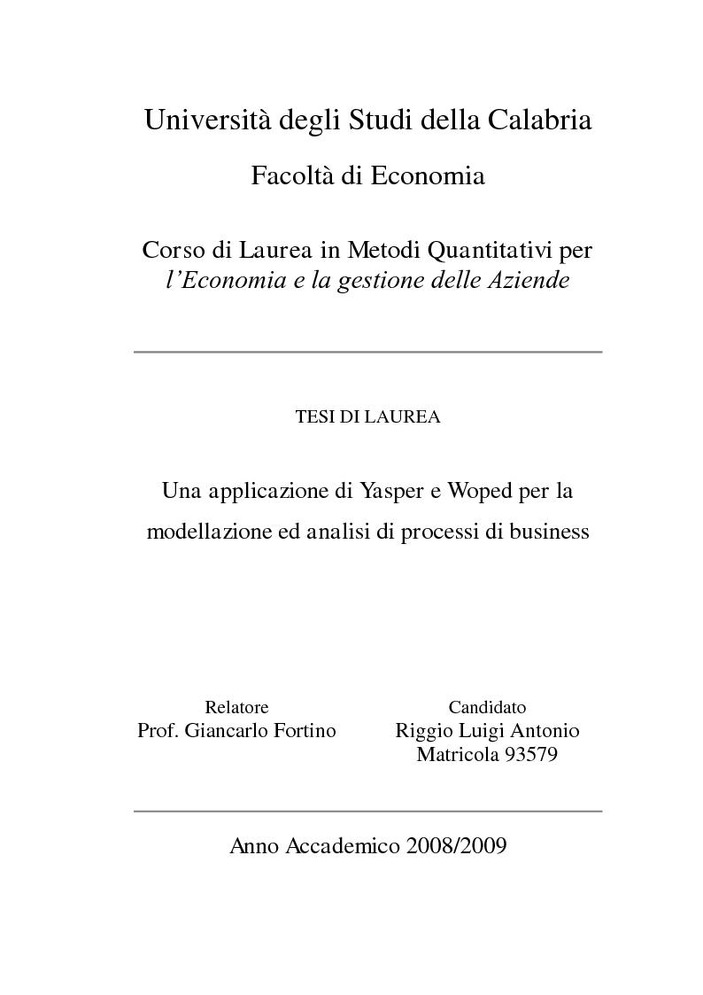 Anteprima della tesi: Un'applicazione di Yasper e Woped per la modellazione ed analisi di processi di business, Pagina 1