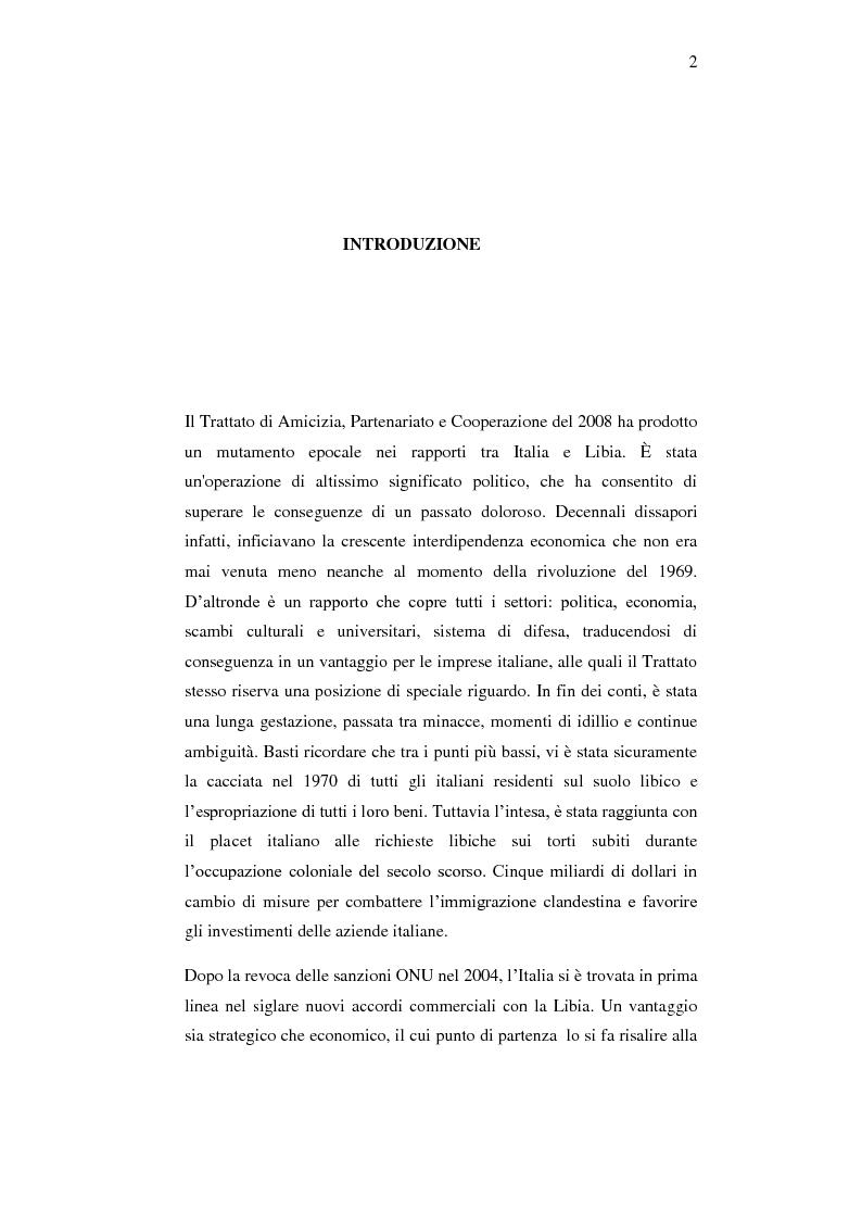 Anteprima della tesi: Le relazioni economiche tra Italia e Libia dopo il Trattato di Bengasi (2008)., Pagina 2
