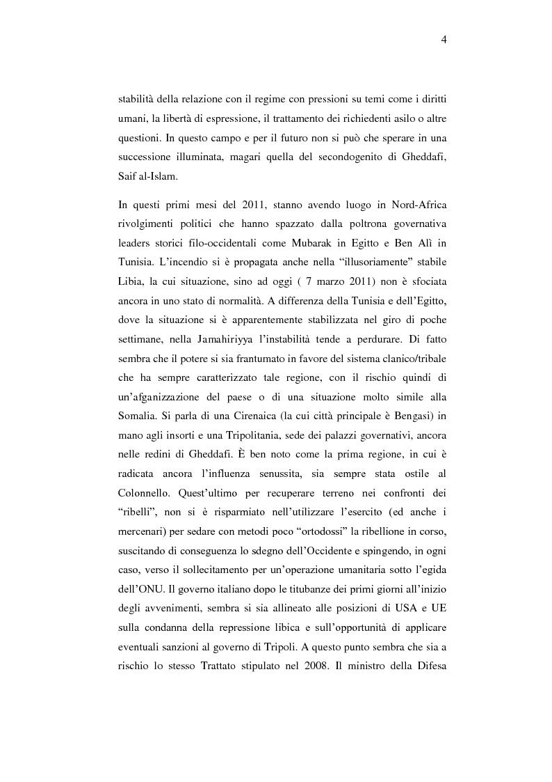 Anteprima della tesi: Le relazioni economiche tra Italia e Libia dopo il Trattato di Bengasi (2008)., Pagina 4