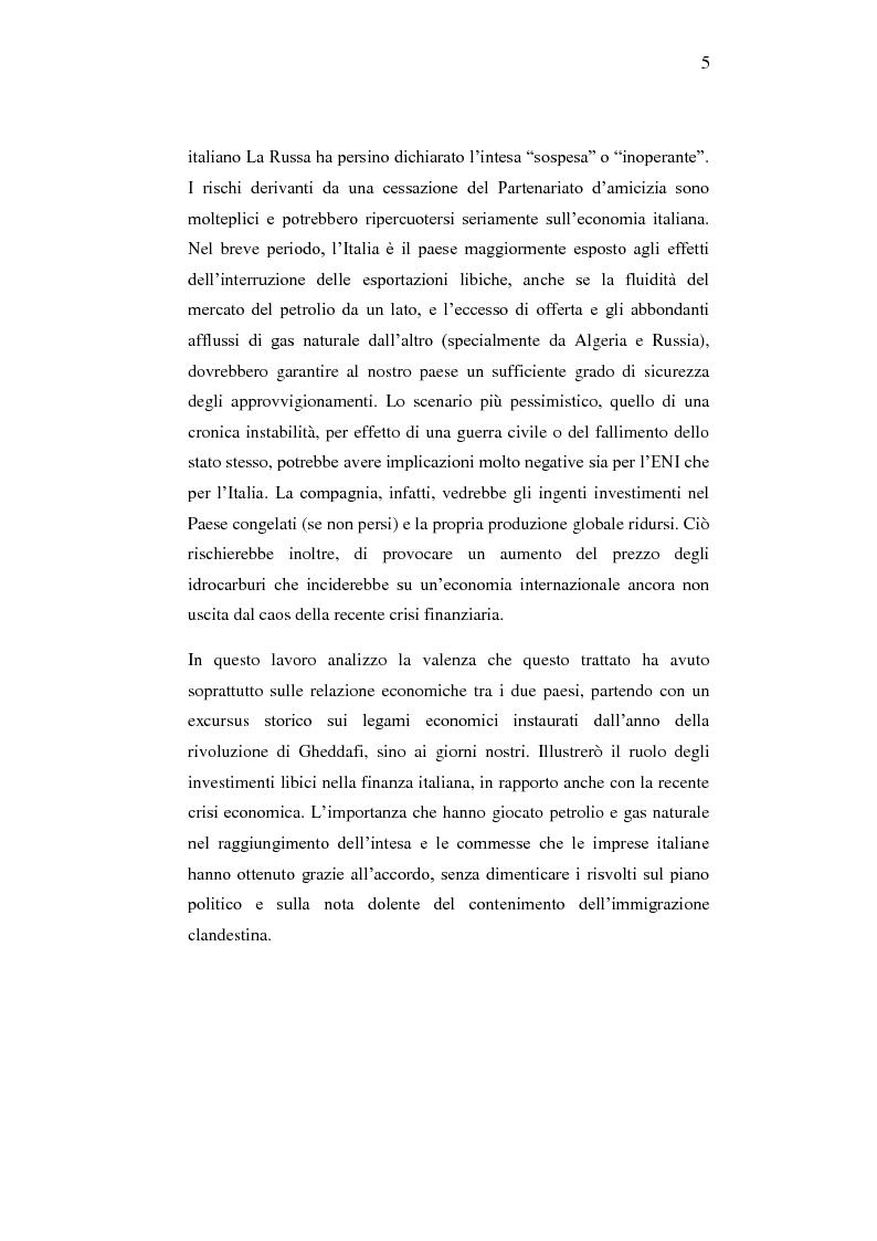 Anteprima della tesi: Le relazioni economiche tra Italia e Libia dopo il Trattato di Bengasi (2008)., Pagina 5
