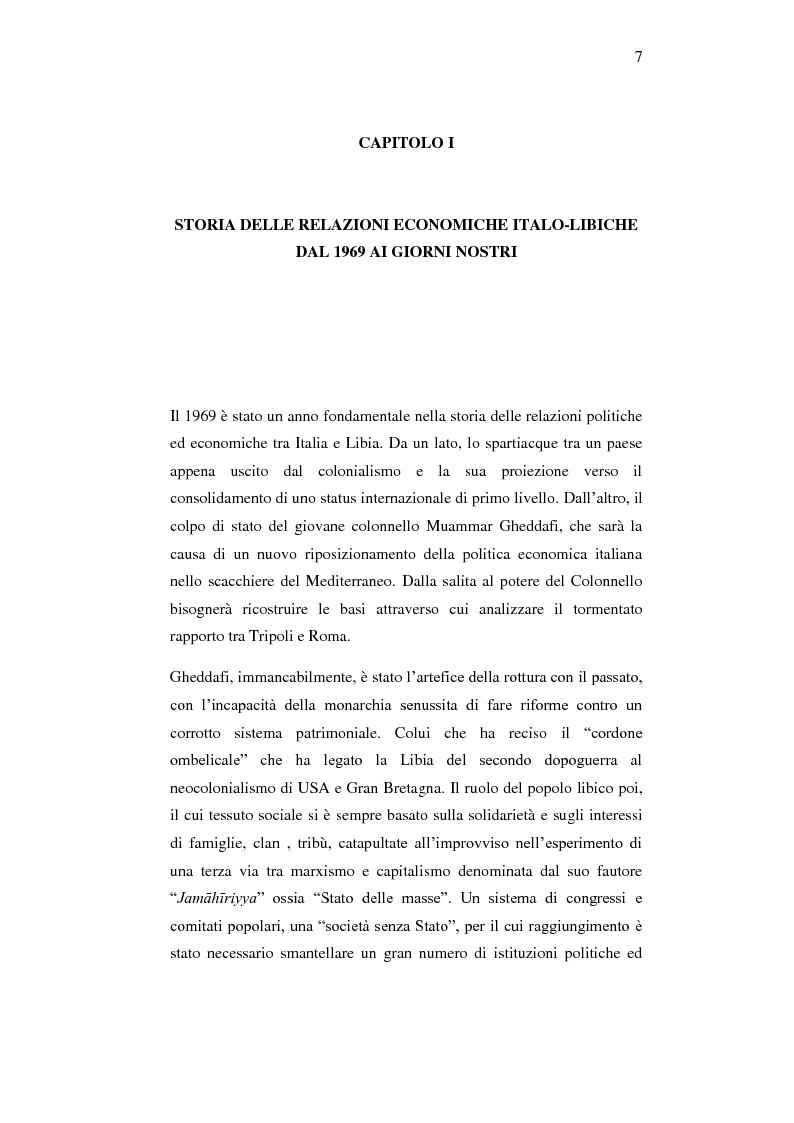 Anteprima della tesi: Le relazioni economiche tra Italia e Libia dopo il Trattato di Bengasi (2008)., Pagina 7