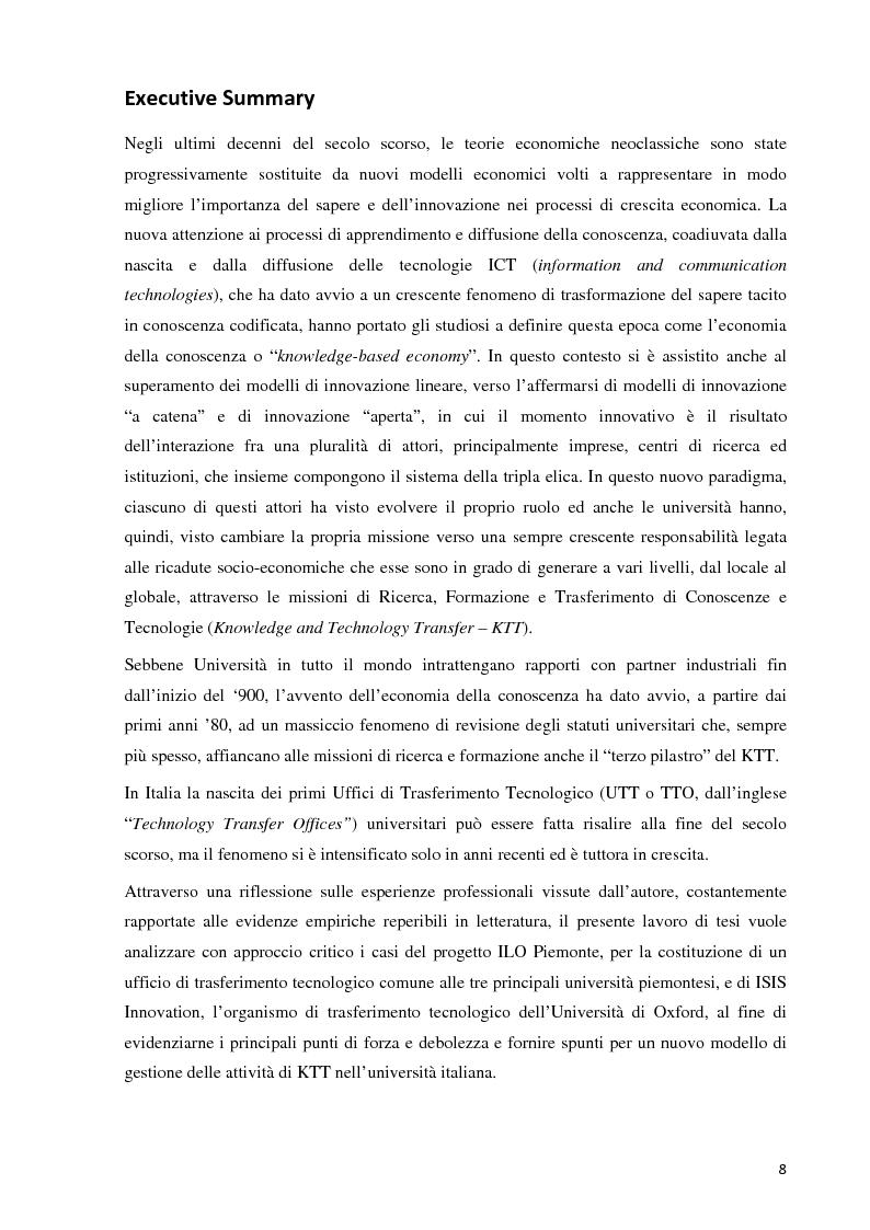 Anteprima della tesi: Verso la definizione di un nuovo modello di trasferimento tecnologico per le Università Italiane: dalla gestione dell'IPR al Marketing della Ricerca. Esperienze a confronto, Pagina 2