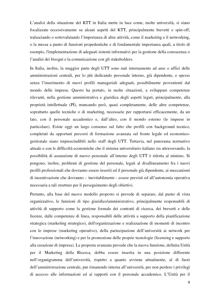 Anteprima della tesi: Verso la definizione di un nuovo modello di trasferimento tecnologico per le Università Italiane: dalla gestione dell'IPR al Marketing della Ricerca. Esperienze a confronto, Pagina 3