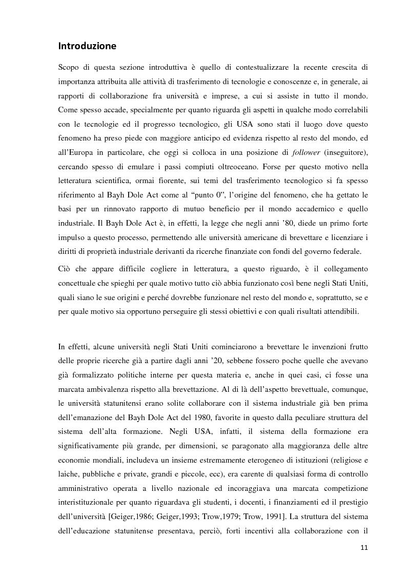 Anteprima della tesi: Verso la definizione di un nuovo modello di trasferimento tecnologico per le Università Italiane: dalla gestione dell'IPR al Marketing della Ricerca. Esperienze a confronto, Pagina 5