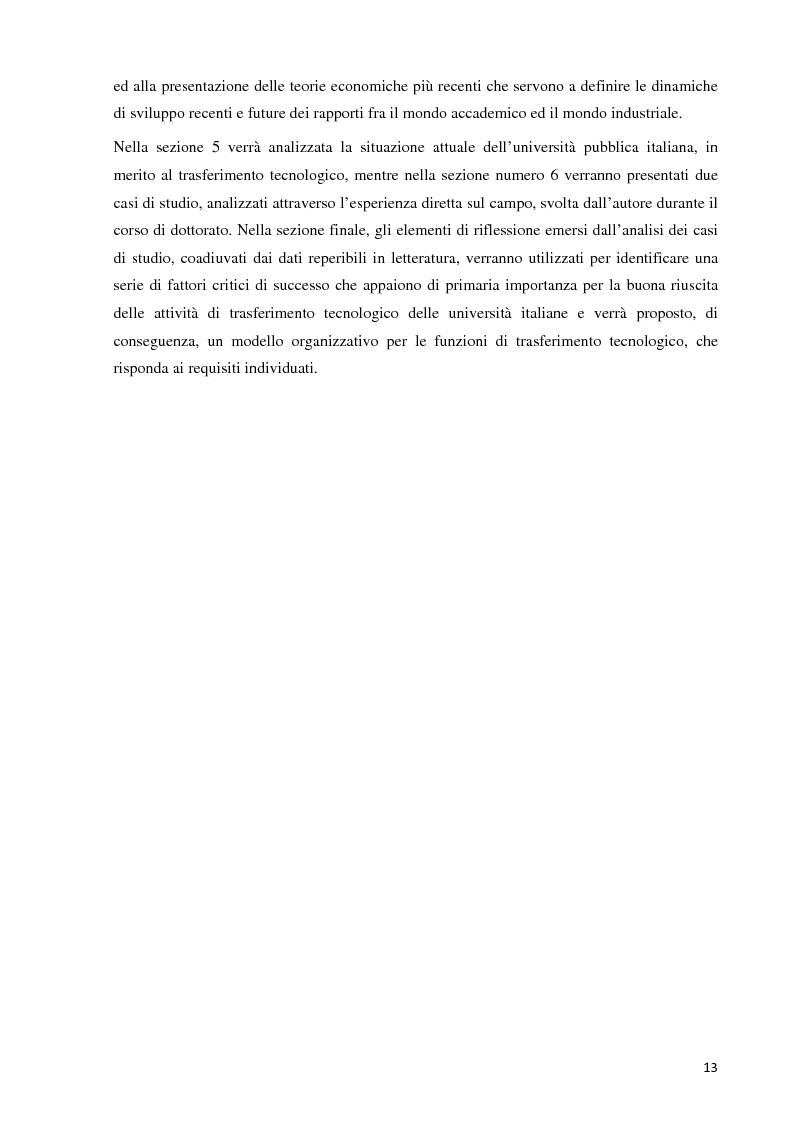 Anteprima della tesi: Verso la definizione di un nuovo modello di trasferimento tecnologico per le Università Italiane: dalla gestione dell'IPR al Marketing della Ricerca. Esperienze a confronto, Pagina 7