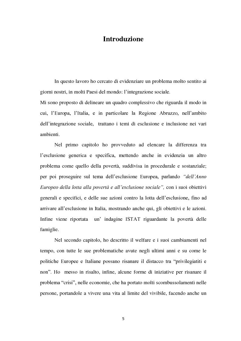 Anteprima della tesi: Politiche di inclusione sociale con particolare attenzione alla situazione abruzzese, Pagina 2