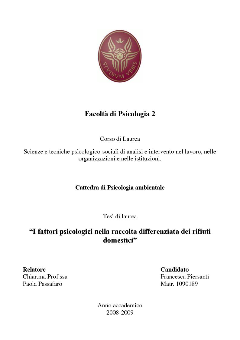 Anteprima della tesi: I fattori psicologici nella raccolta differenziata dei rifiuti domestici, Pagina 1