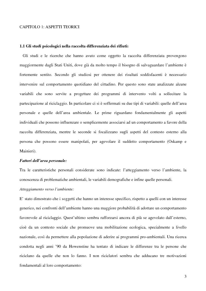 Anteprima della tesi: I fattori psicologici nella raccolta differenziata dei rifiuti domestici, Pagina 2