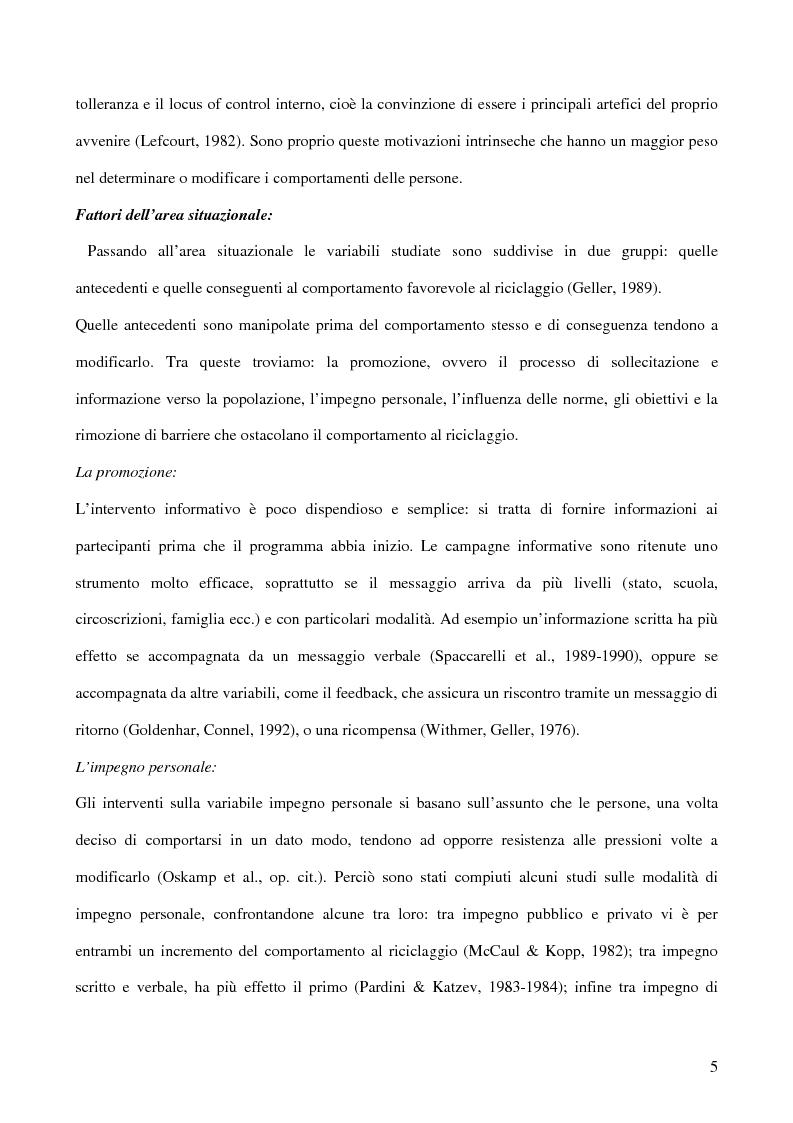 Anteprima della tesi: I fattori psicologici nella raccolta differenziata dei rifiuti domestici, Pagina 4