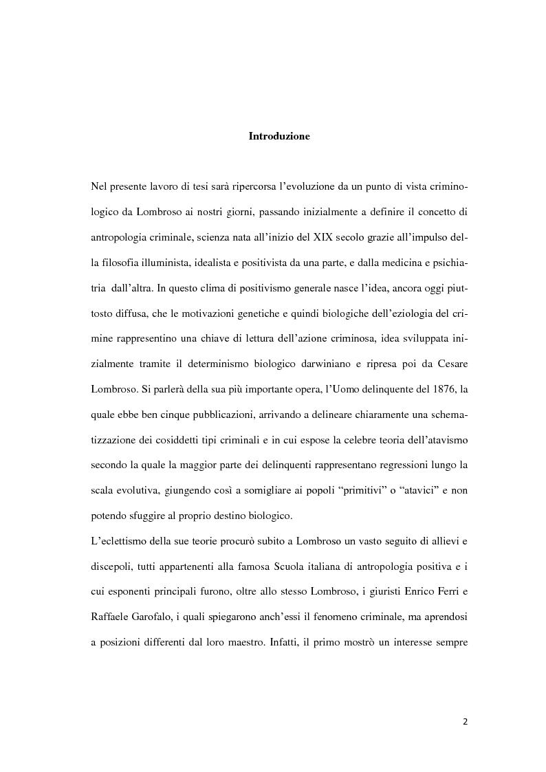 Anteprima della tesi: Da Lombroso ai giorni nostri: un profilo criminologico, Pagina 2