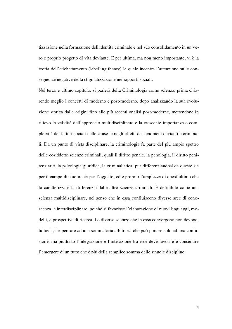 Anteprima della tesi: Da Lombroso ai giorni nostri: un profilo criminologico, Pagina 4