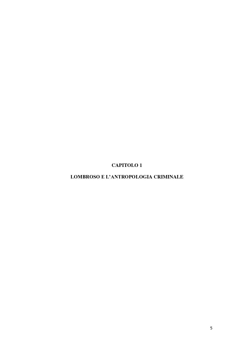 Anteprima della tesi: Da Lombroso ai giorni nostri: un profilo criminologico, Pagina 5