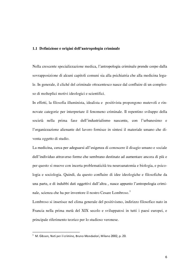 Anteprima della tesi: Da Lombroso ai giorni nostri: un profilo criminologico, Pagina 6