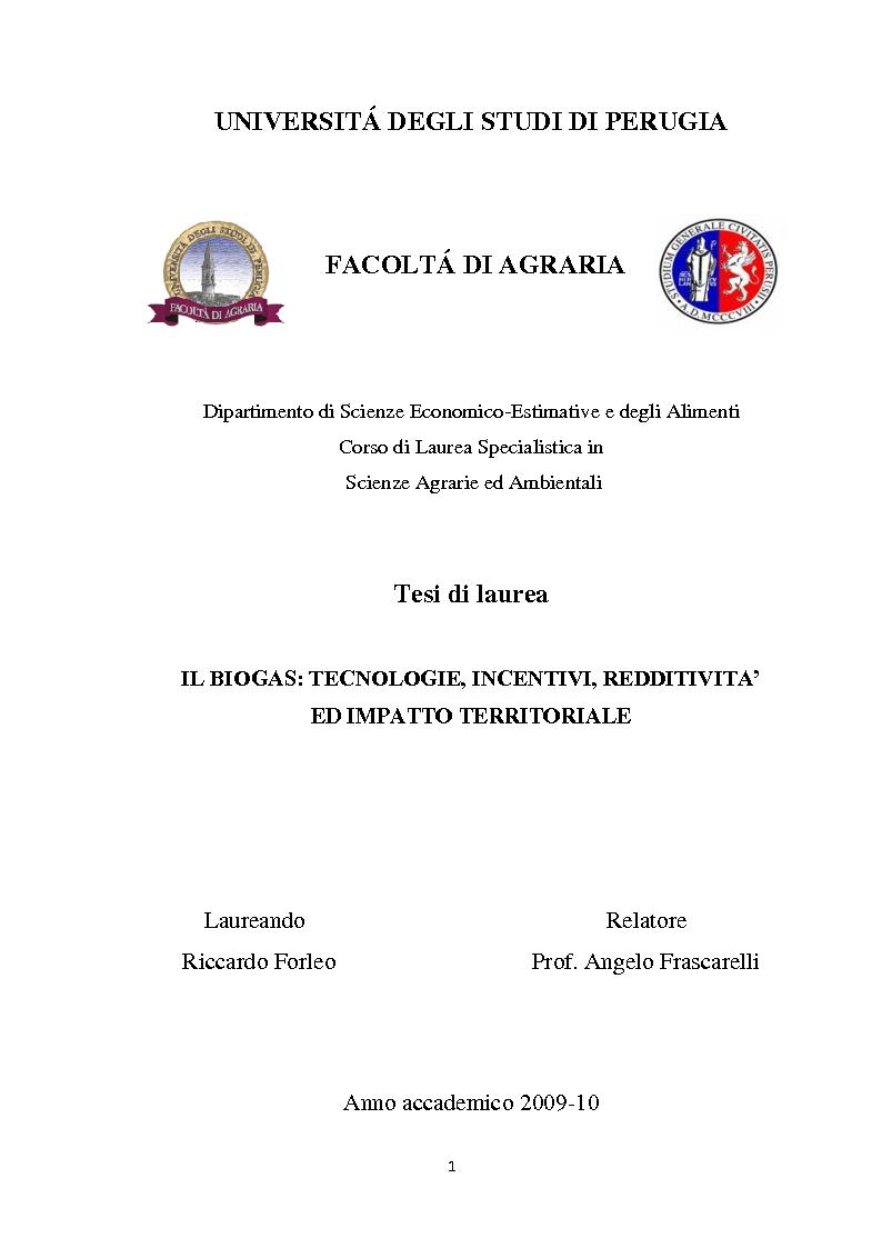 Anteprima della tesi: Biogas: tecnologie, incentivi, redditività ed impatto territoriale., Pagina 1
