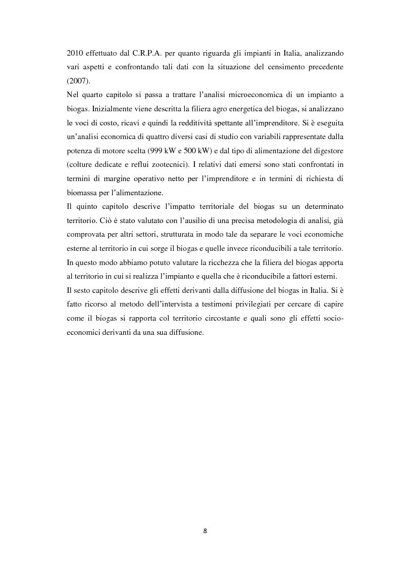 Anteprima della tesi: Biogas: tecnologie, incentivi, redditività ed impatto territoriale., Pagina 5