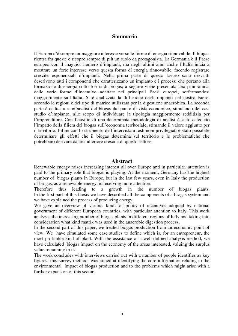 Anteprima della tesi: Biogas: tecnologie, incentivi, redditività ed impatto territoriale., Pagina 6