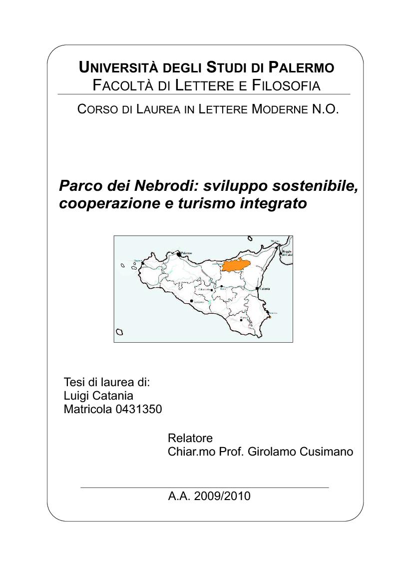 Anteprima della tesi: Parco dei Nebrodi: sviluppo sostenibile, cooperazione e turismo integrato, Pagina 1