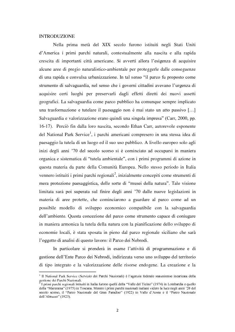 Anteprima della tesi: Parco dei Nebrodi: sviluppo sostenibile, cooperazione e turismo integrato, Pagina 2