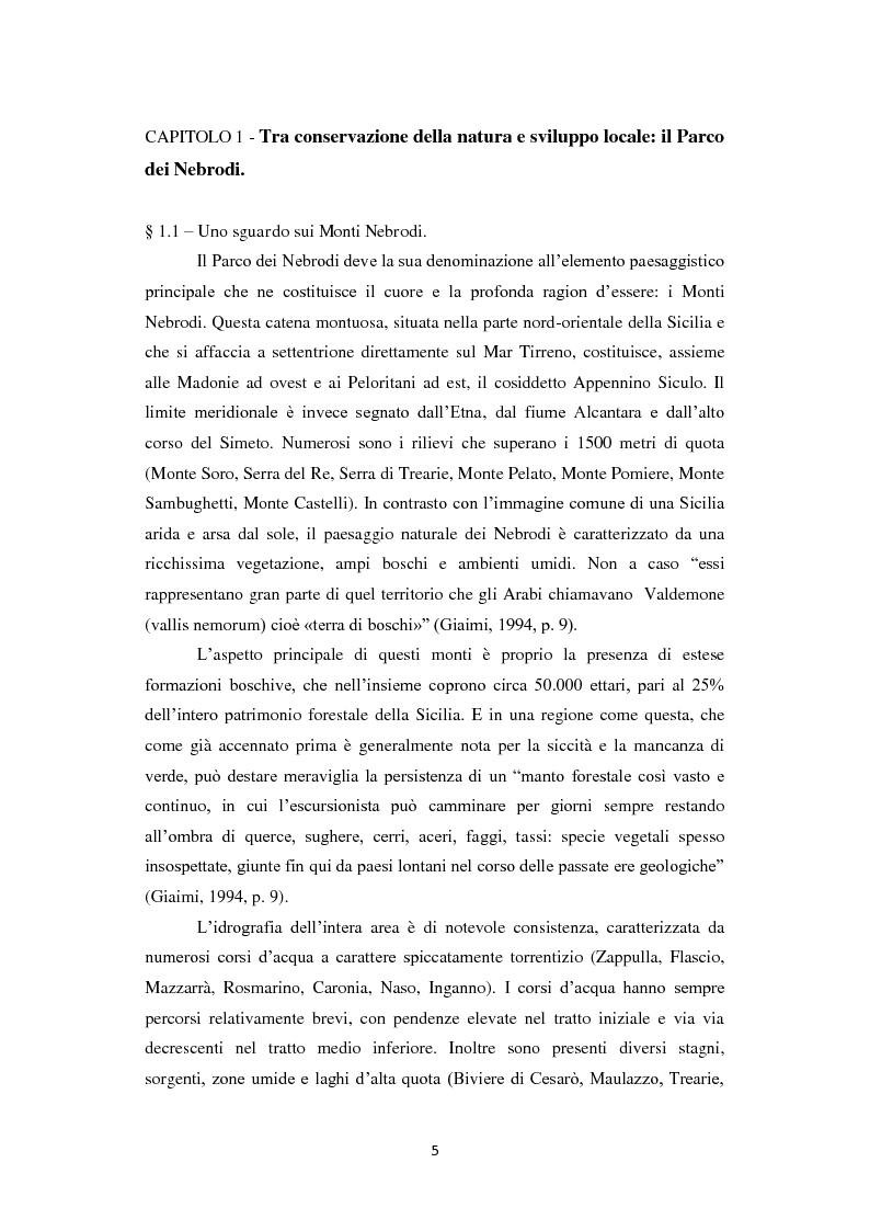 Anteprima della tesi: Parco dei Nebrodi: sviluppo sostenibile, cooperazione e turismo integrato, Pagina 5