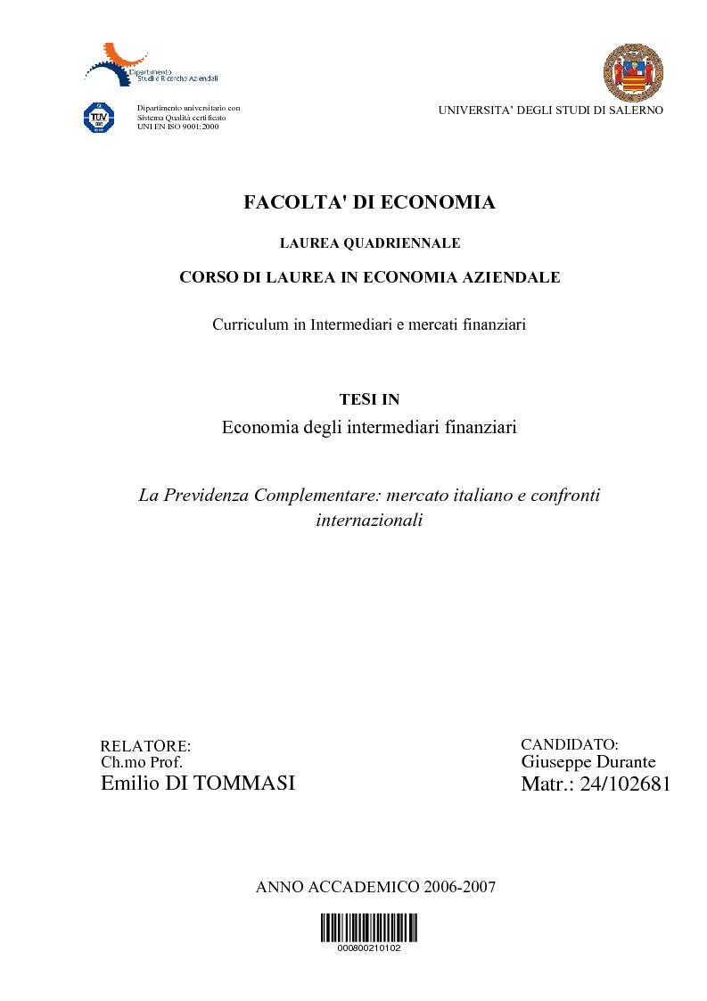 Anteprima della tesi: La Previdenza Complementare: mercato italiano e confronti internazionali, Pagina 1