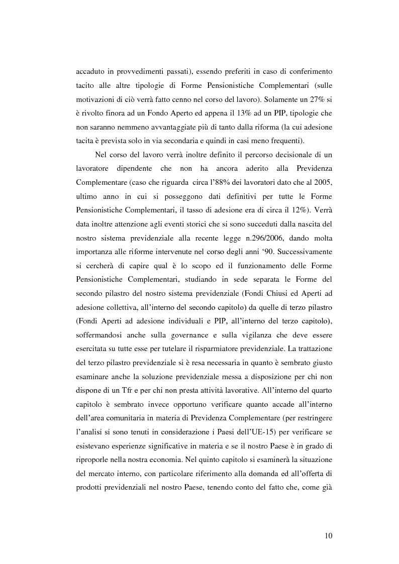 Anteprima della tesi: La Previdenza Complementare: mercato italiano e confronti internazionali, Pagina 11
