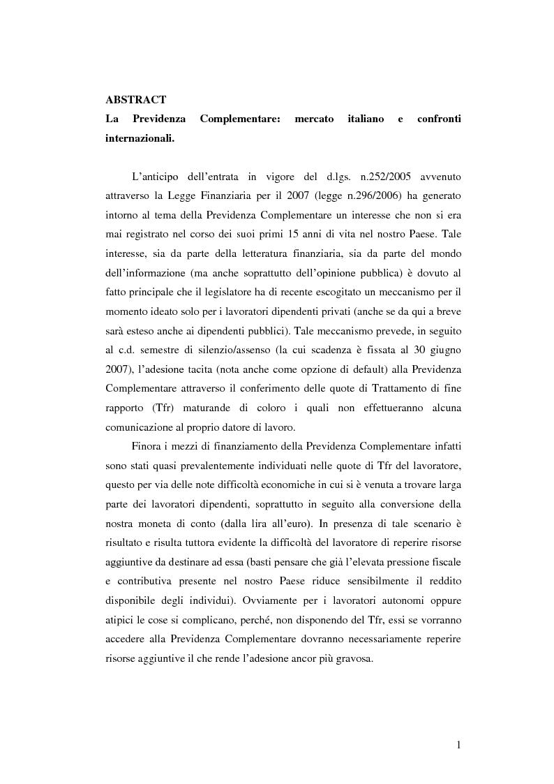 Anteprima della tesi: La Previdenza Complementare: mercato italiano e confronti internazionali, Pagina 2