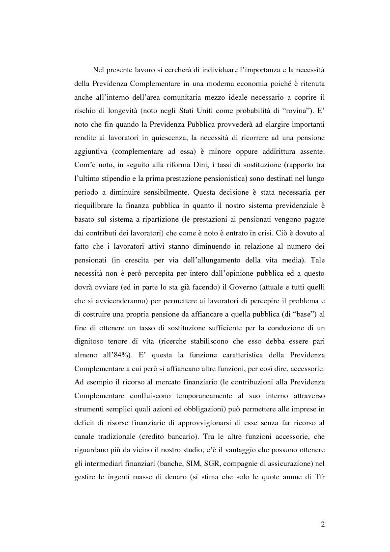 Anteprima della tesi: La Previdenza Complementare: mercato italiano e confronti internazionali, Pagina 3