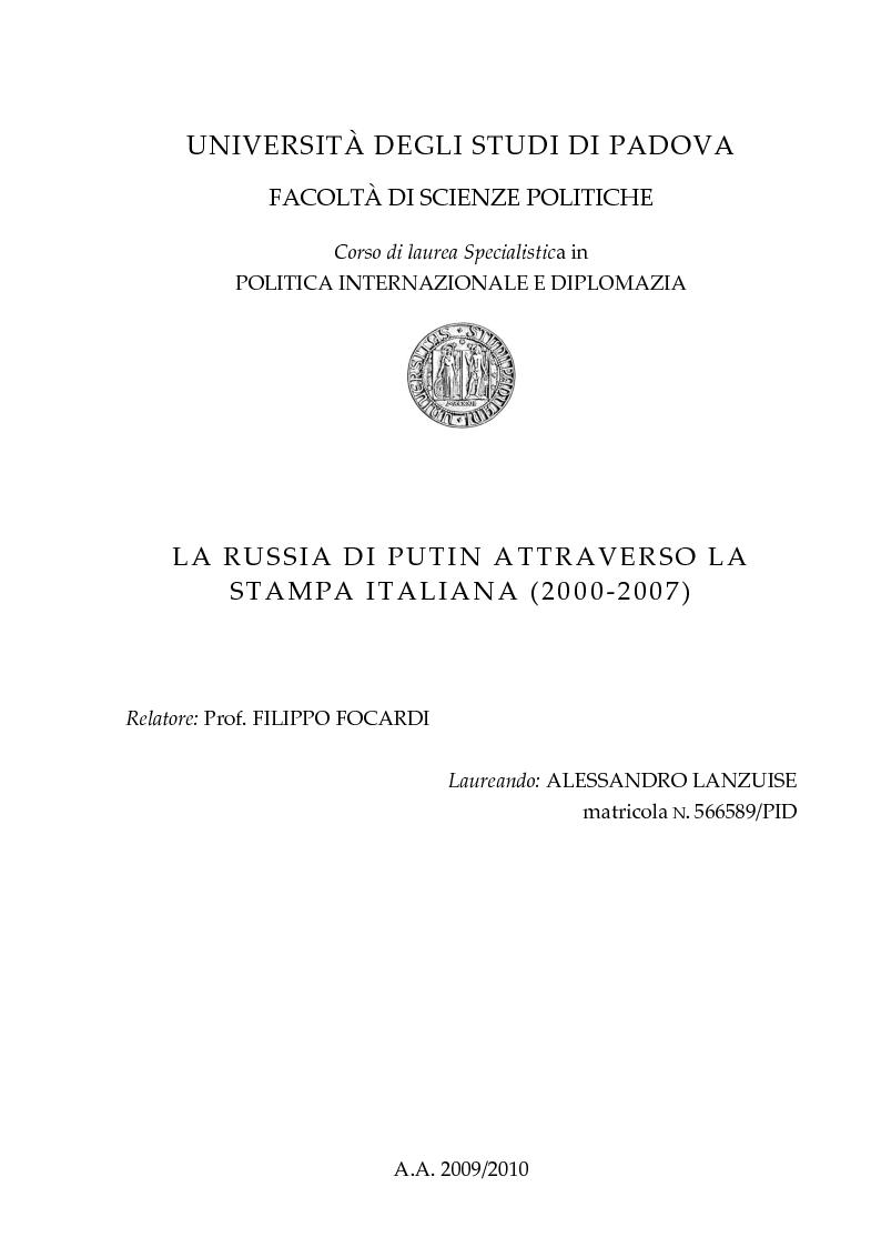 Anteprima della tesi: La Russia di Putin attraverso la stampa italiana (2000 - 2007), Pagina 1