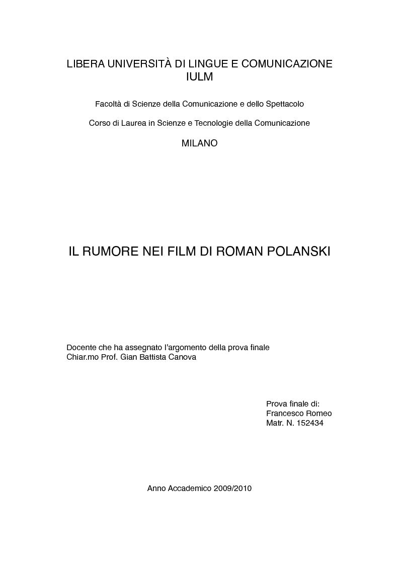 Anteprima della tesi: Il rumore nei film di Roman Polanski, Pagina 1