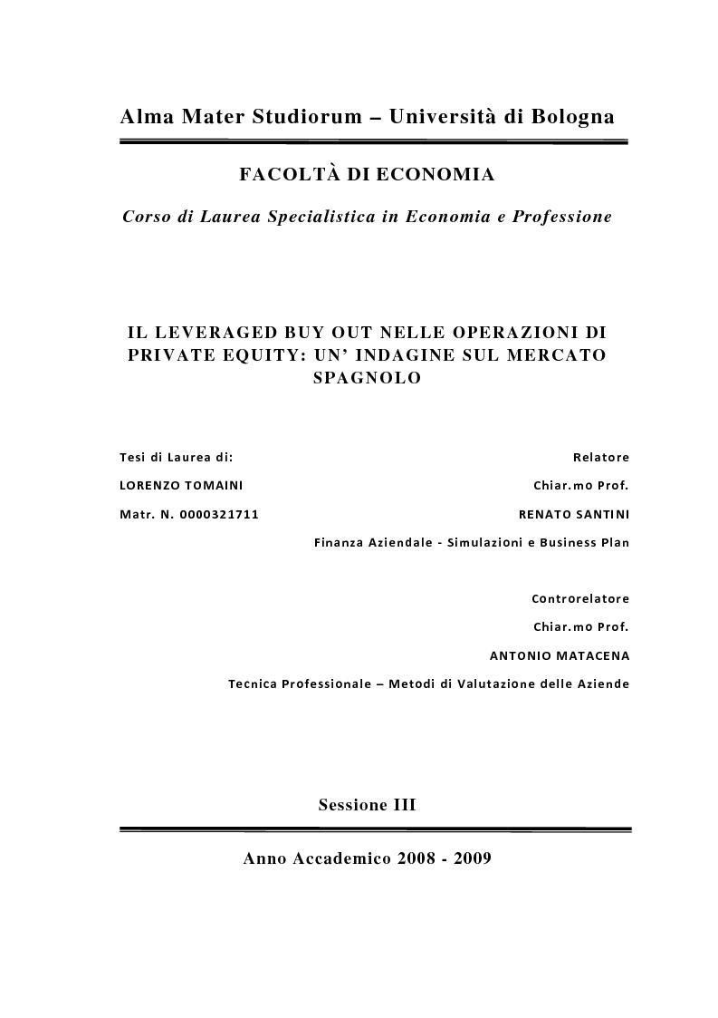 Anteprima della tesi: Il Leveraged Buy Out nelle Operazioni di Private Equity - Un'indagine sul mercato spagnolo, Pagina 1